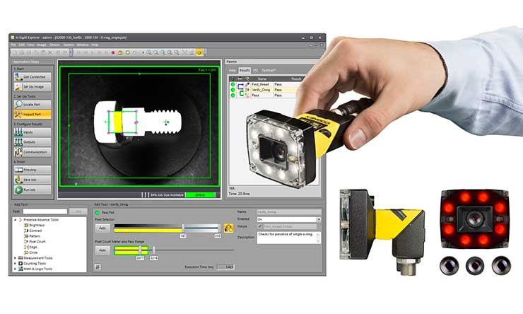 In-Sight 2000 képfeldolgozó érzékelők és In-Sight Explorer EasyBuilder szoftver